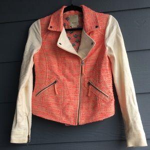 Anthropologie/ Elevenses Tweed Moto Jacket